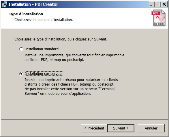 Installation PdfCreator en mode serveur