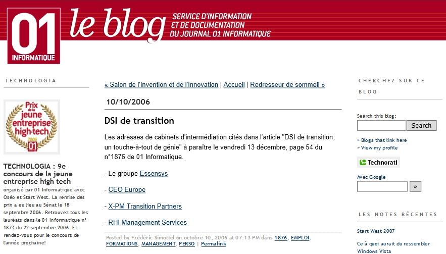 Emploi : Dsi de transition