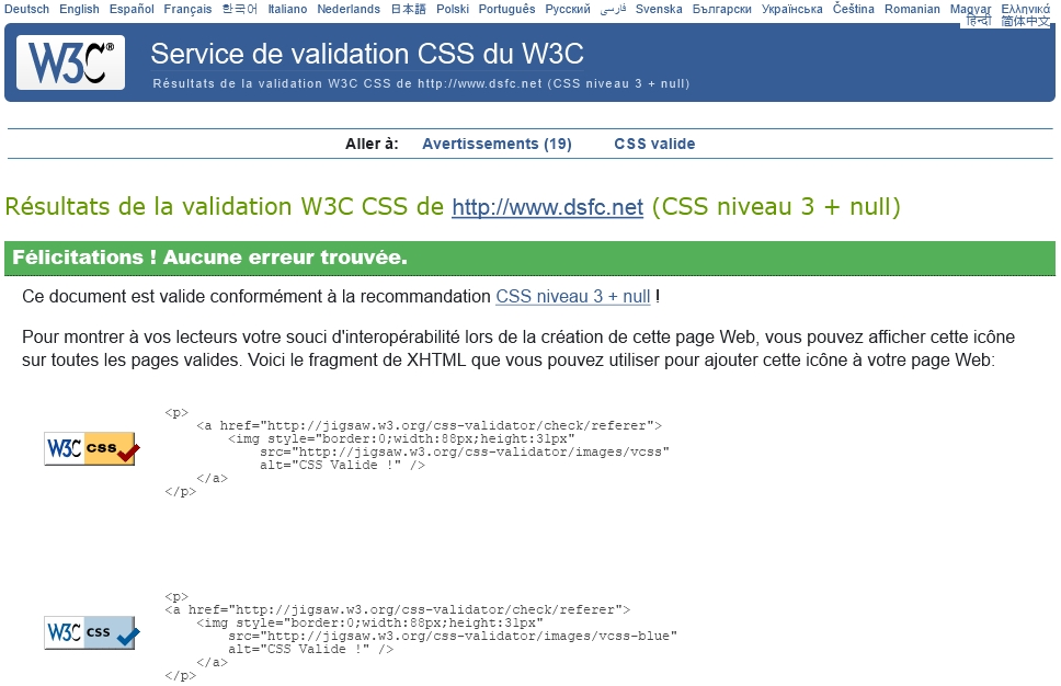 Validation W3C CSS