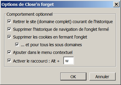 Réglez les optopns de Close'n Forget