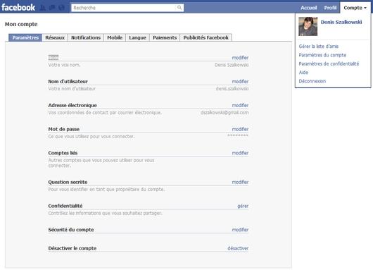 Désactivation de votre compte Facebook