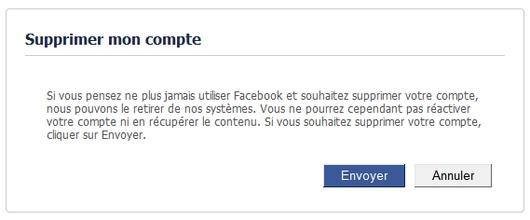 Suppression de votre compte Facebook : étape 1