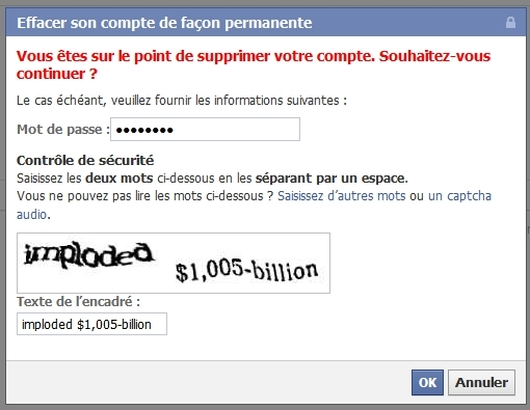 Suppression de votre compte facebook : étape 2