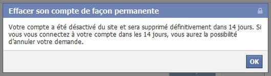Suppression de votre compte facebook : étape 3
