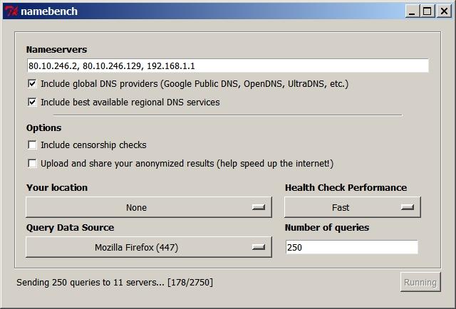 Namebench, outil de test de la vitesse de votre DNS