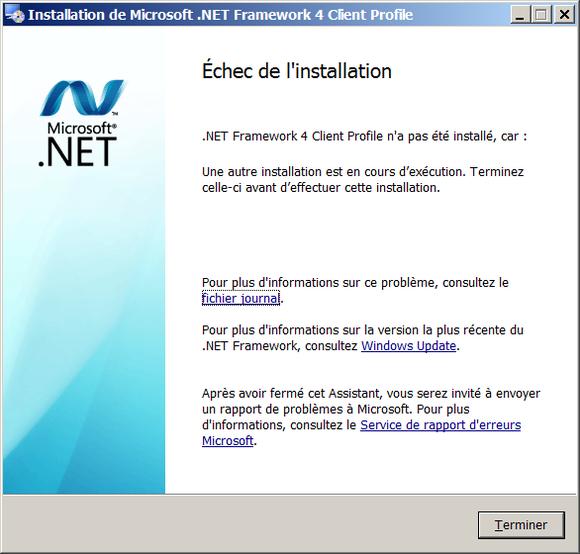 Echec de l'installation du Framework .Net 4