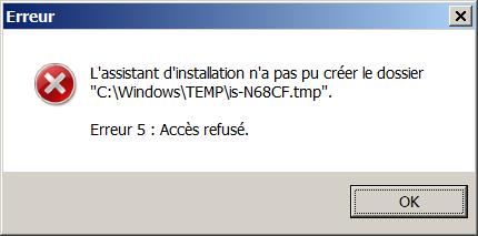 Impossibilite d'nstaller sous Windows 7