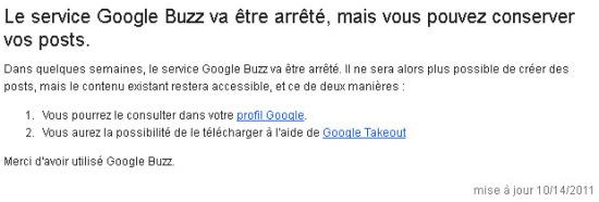 Le service Google Buzz va être arrêté, mais vous pouvez conserver vos posts.
