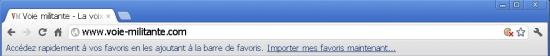 La barre de navigation sous Google Chromium 17