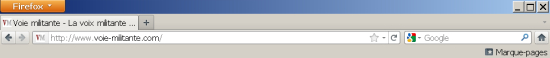La barre de menus et de navigation de Mozilla Firefox 7.0.1