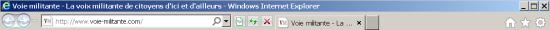 La barre de menus et de navigation de Microsoft Internet Explorer 9.0