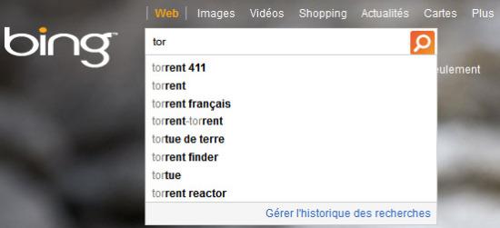 Suggestions associées au mot Torrent sur Bing