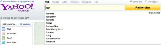 Suggestions associées au mot Torrent sur Yahoo!
