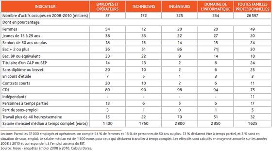 Emploi dans les métiers de l'informatique en France 2008-2010