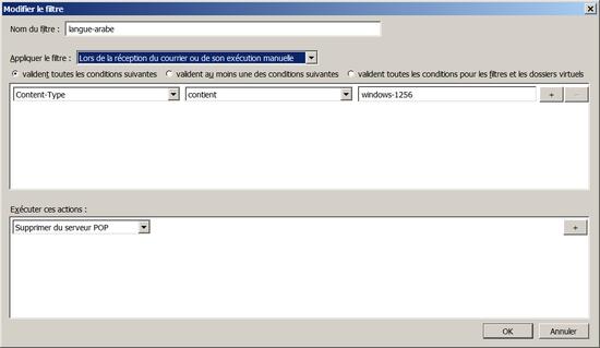 Filtre sous Thunderbird pour bloquer les contenus en langue arabe