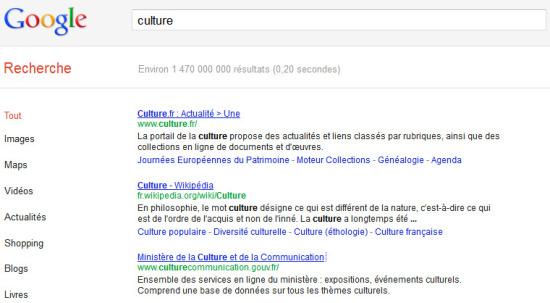 Le ministère de la Culture et de la Communication dans l'index Google