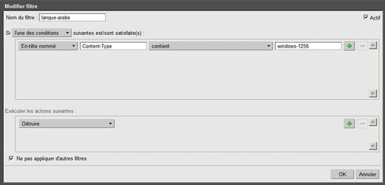 Créer un filtre sous Zimbra