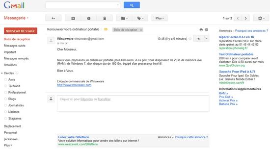 Publicités sous Gmail en rapport avec le contenu de vos mails !