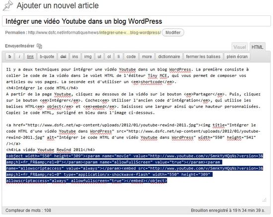 Intéger une vidéo Youtube dans un blog WordPress
