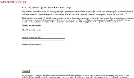 Outils pour webmasters - Signaler les liens payants