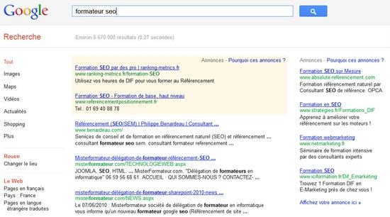 Recherche dans Google sur formateur seo