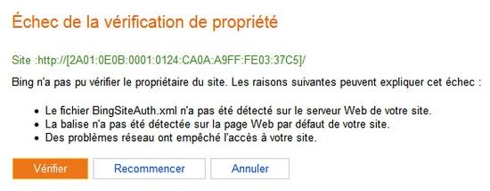 Bing Webmaster Tools incompatible avec Ipv6