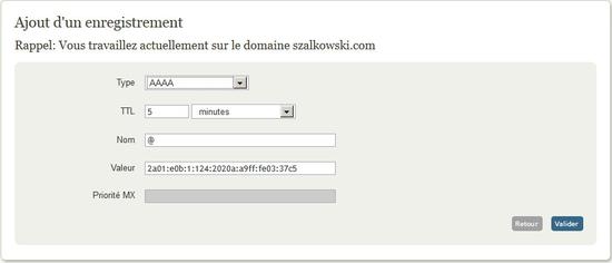 Créer un enregistrement DNS de type AAAA pour la prise encharge d'IPv6