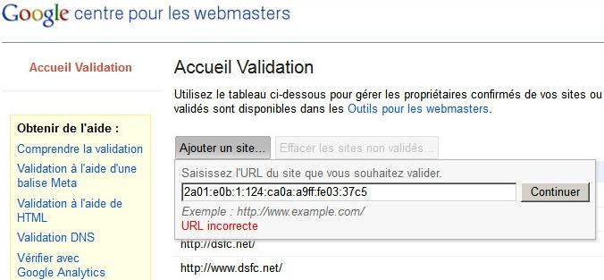 Google Web Master Tools incompatible avec les adresses IPv6 !