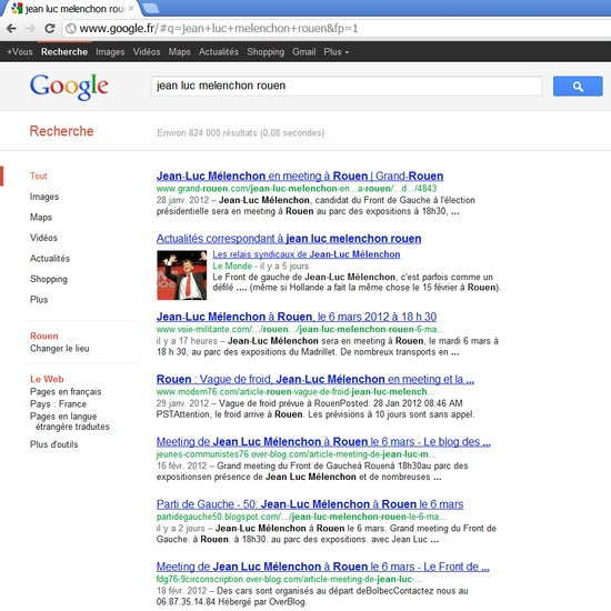 "Recherche Google sur ""jean luc melenchon rouen"""