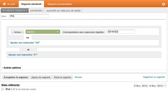 Créer un segment IPv6 sous Google Analytics