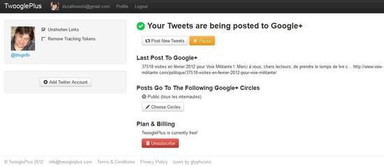 Publication automatique dans Google+ via Twitter