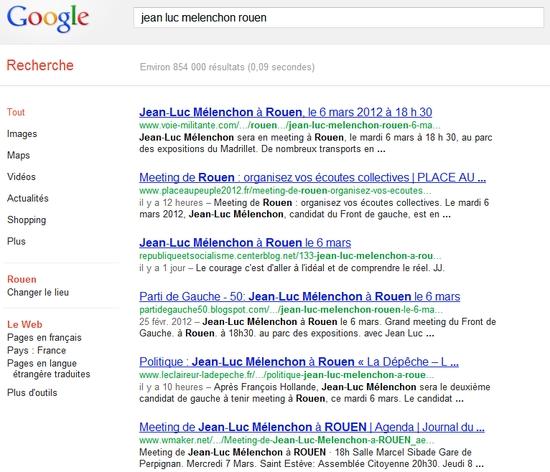 """Résultats du search sur """"jean luc melenchon rouen"""" dans Chromium"""
