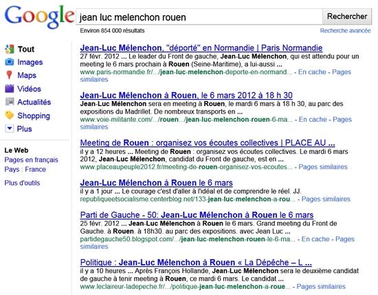 """Résultats du search sur """"jean luc melenchon rouen"""" dans Internet Explorer"""