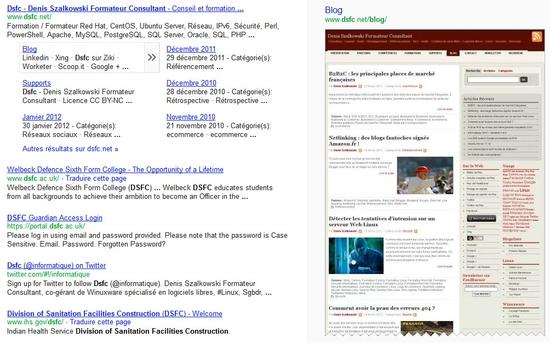 Vignette du site Dsfc.net dans le moteur de recherche Google
