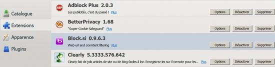 Configurer Block.si dans Firefox
