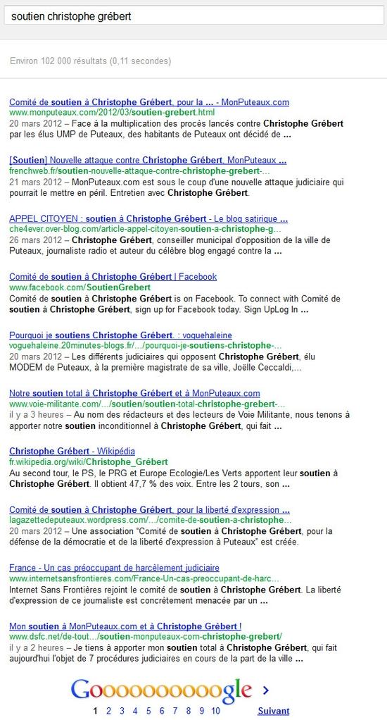 """Recherche dans Google sur """"soutien Christophe Grébert"""""""