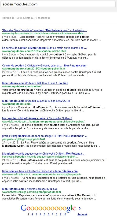 """Recherche dans Google sur """"soutien MonPuteaux.com"""""""