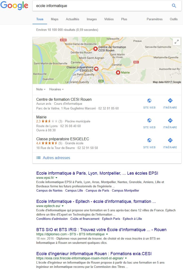 """La recherche sur """"ecole informatique"""" dans google.fr"""