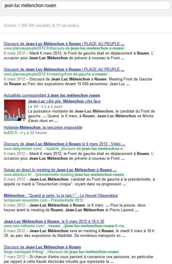 """La recherche du 2 avril 2012 sur """"jeanluc melenchon rouen"""" dans Google"""