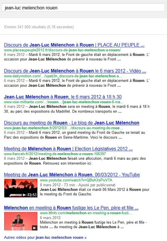 """La recherche sur """"jean luc melenchon le 16 juin 2012 dans Google"""