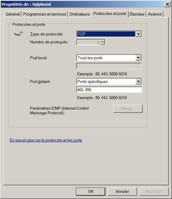 Filtrage combinant le logiciel utilisé et l'application Tcp/Ip sur Windows 7/Vista/2008 (2/2)