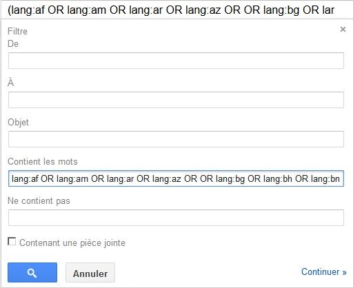 Un filtre sur Gmail pour bloquer les contenus en langues étrangères