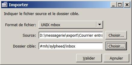 Import de fichier mbox sous Sylpheed !