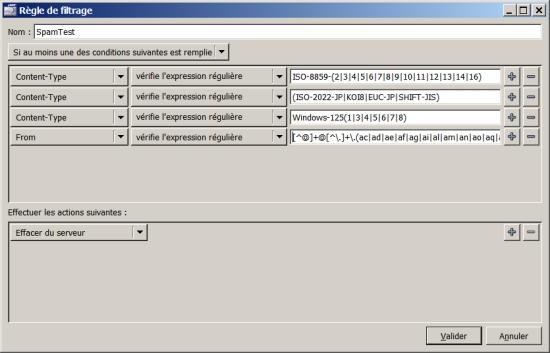 Règles de filtrage utilisant les expressions régulières sous Sylpheed !
