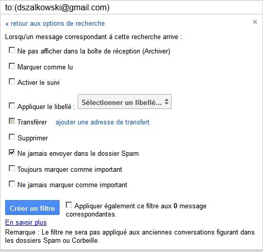 Gmail : comment désactiver l'antispam ! (Etape 3)