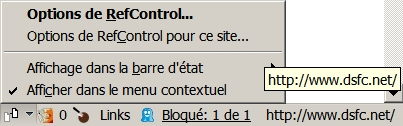 Options de RefControl dans la barre des modules de Firefox