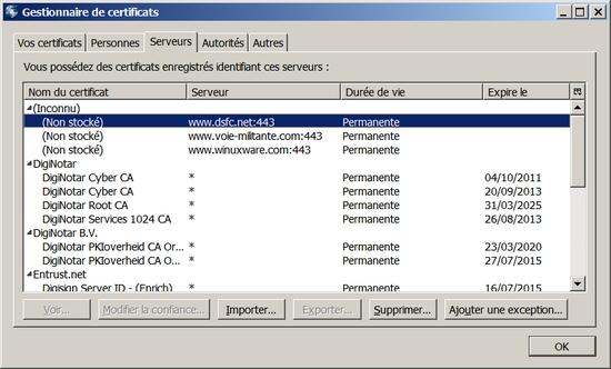 Outils->Options->Avancé->Chiffrement->Afficher les certificats