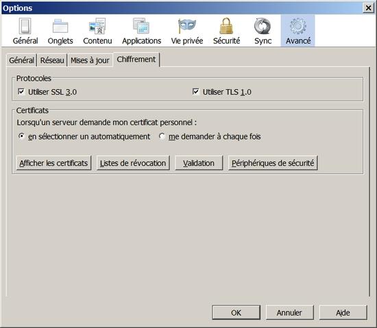 Outils->Options->Avancé->Chiffrement