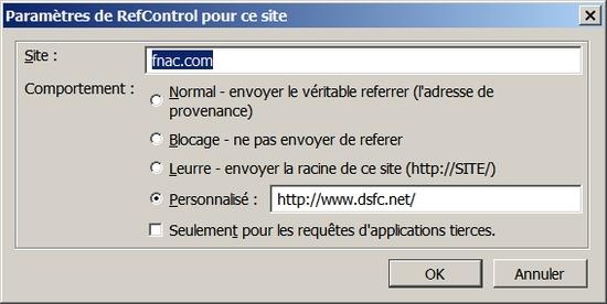 Paramètres de RefControl pour fnac.com