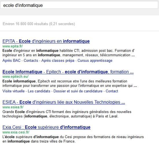 Recherche Google sur Ecole d'informatique